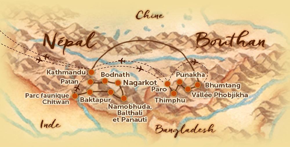 Carte du voyage en petit groupe au Népal-Bhoutan offert par l'agence de voyage Les Routes du Monde