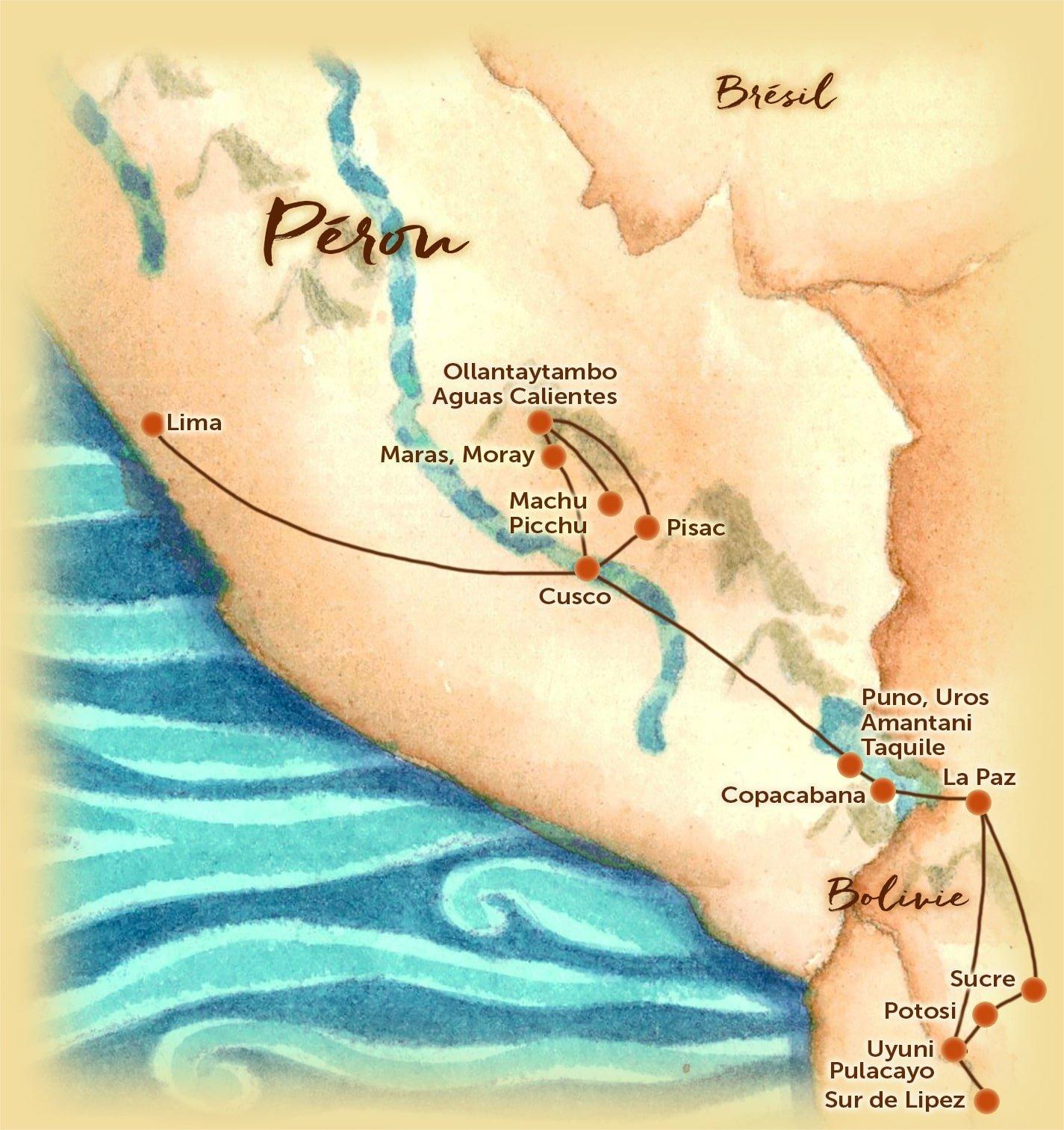 Carte du voyage sur mesure proposé au Pérou et en Bolivie - Les Routes du Monde