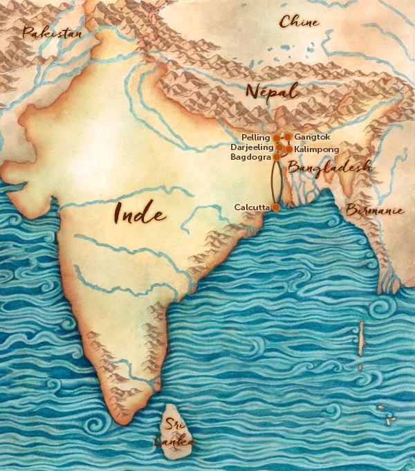 Carte Inde Sikkim.Carte Inde Des Montagnes Le Sikkim Les Routes Du Monde