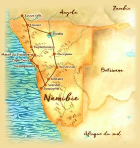 Voyage sur mesure - Carte de la Namibie - Agence de voyage Les Routes du Monde