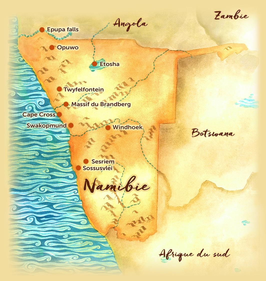 Voyage sur mesure - Carte des points d'intérêt - Namibie - Agence de voyage Les Routes du Monde