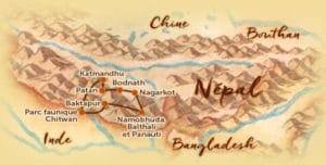 Carte du voyage sur mesure proposé au Népal de 12 jours - Les Routes du Monde