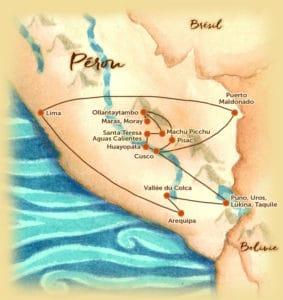 Carte du voyage sur mesure proposé au Pérou - La Terre des Incas - Les Routes du Monde