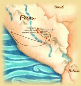 Carte du voyage sur mesure proposé au Pérou - La vallée sacrée - Les Routes du Monde