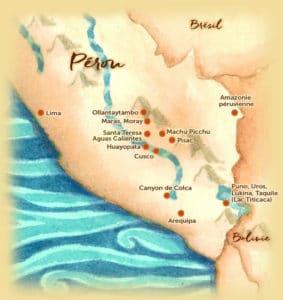 Carte des points d'intérêts au Pérou - Les Routes du Monde