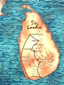 Carte du voyage sur mesure proposé au Sri Lanka - Nord au Sud - Les Routes du Monde