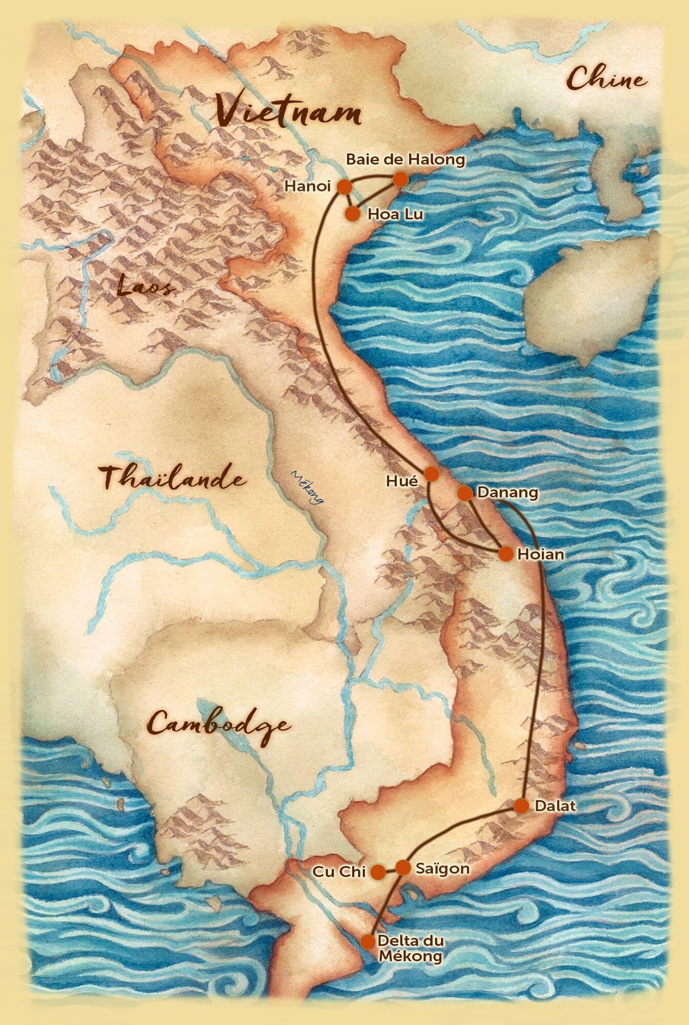 Carte du voyage sur mesure proposé au Vietnam - Les Routes du Monde