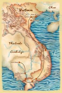 Carte du voyage sur mesure proposé au Vietnam et au Cambodge - Les Routes du Monde