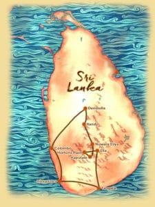 Carte du voyage sur mesure proposé au Sri Lanka - Les Routes du Monde