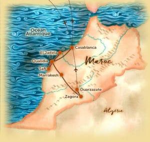 carte du circuits slowprenariat au Maroc