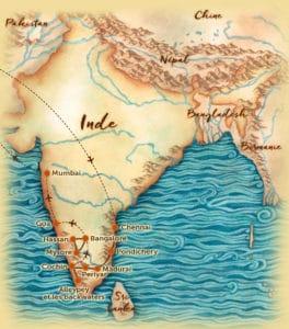 Carte du voyage en petit groupe en Inde du Sud offert par l'agence de voyage Les Routes du Monde