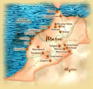 Voyage organisé en petit groupe - Carte des points d'intérêts - Maroc - Agence de voyage Les Routes du Monde