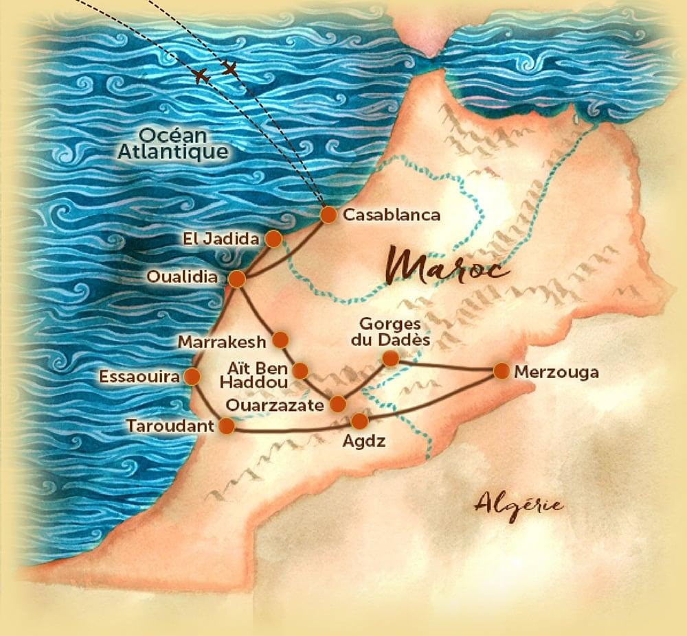 Voyage organisé en petit groupe - Carte du Maroc - Agence de voyage Les Routes du Monde