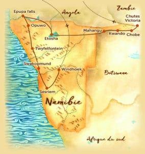 Voyage organisé en petit groupe - Carte de la Namibie - Agence de voyage Les Routes du Monde