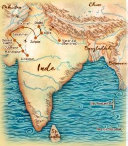 Carte du voyage en petit groupe au Rajasthan et à Bénarès (Varanasi) offert par l'agence de voyage Les Routes du Monde