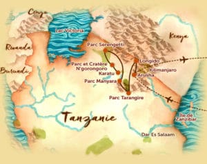 Carte du voyage en petit groupe en Tanzanie offert par l'agence de voyage Les Routes du Monde
