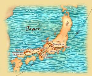 Carte du voyage en petit groupe au Japon offert par l'agence de voyage Les Routes du Monde