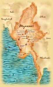 Carte du circuit en petit groupe au Myanmar offert par l'agence de voyage Les Routes du Monde