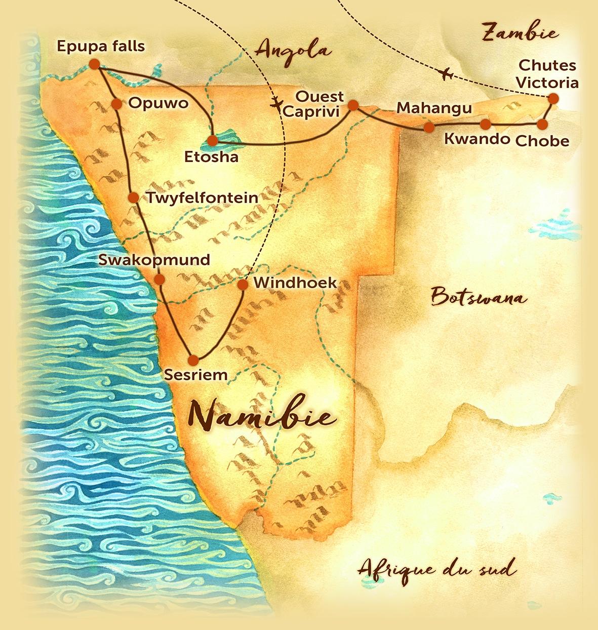 Carte du circuit en petit groupe en Namibie offert par l'agence de voyage Les Routes du Monde